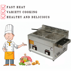 Gas Deep Fryer Double Gas Fryer Two Tanks Noodles Oden Cooker Steamer Energy Saving Fryer Kitchen French Fries Machine JX-11
