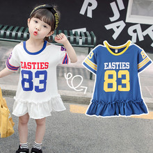 цена на Summer Baby Girl Dress with the letter printingStriped Cotton Kids Unicorn Party Dresses for Girls Clothes Princess Costume 2-7Y