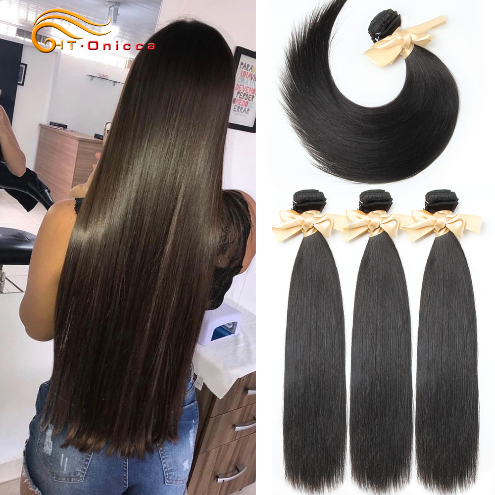 Htonicca Indian Straight Human Hair Non Remy Hair Weave Bundles 1/3/4 PCS Natural Black 8 To 20 22 24 Inches Free Shipping