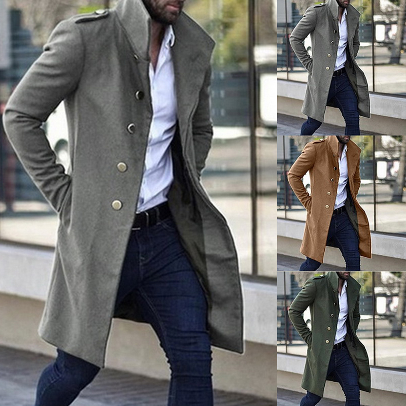 Mens Overcoat Long Jacket Men Trench Coat Men Slim Solid  Wild Stand Collar Single-Breasted Men's Trench Casual Overcoat