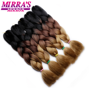 "Image 3 - Mirras Mirror 5Pcs 3 Tone Ombre Jumbo Braids Hair For Braiding Brown Synthetic Hair Extensions Ombre Crochet Hair 24"" 100g"