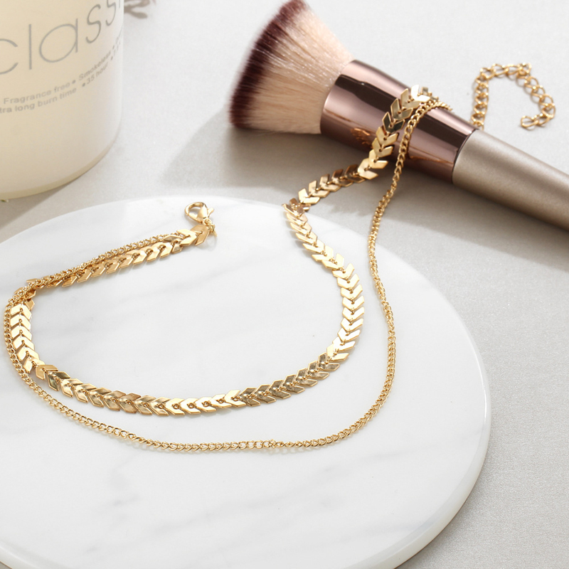 2019 New Chain Choker Two Layers Necklaces Fishbone Airplane Shape Gold Color Necklace Flat Chain jewelry 4