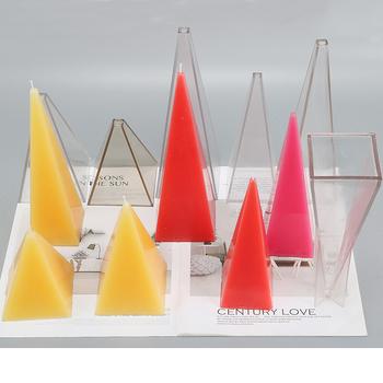 DIY kształt piramidy czekoladowa świeca formy wielu rozmiarów mydło formy do świec instrukcja śliczne geometria do odlewania świec formy lz22 tanie i dobre opinie NoEnName_Null Architektura 6*18 6*20 8*14 candle mold pyramid shape DIY making candle DIY mold