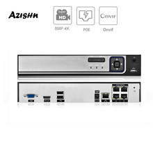 AZISHN 4K 4CH POE NVR ONVIF H.265/H.264 Surveillance Security Video Recorder CCTV DVR for POE IP Camera (1080P/4MP/5MP/8MP/4K)