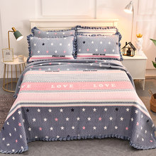 Winter Warm AB Surface Ruffles Quilted Bedspread Bed Cover Sheet Coverlet Home Textile Bedding not include Pillowcase 200x230cm