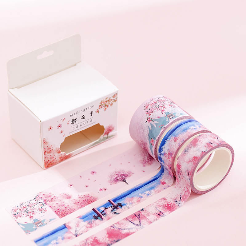 Купить с кэшбэком EZONE Creative Fresh Dream Watercolor And Paper Tape Hand Account Material DIY Photo Album Diary Decoration Sticker Tape