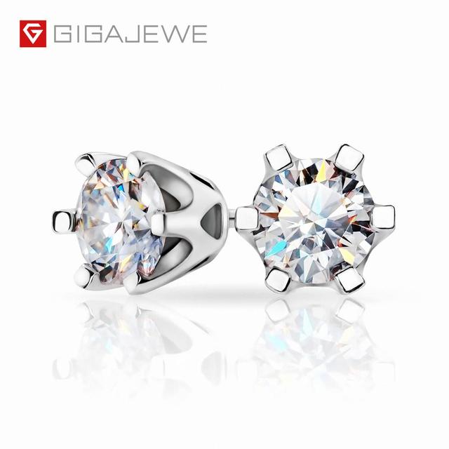 GIGAJEWE EF Total 1ct Round Cut Diamond Test Passed Moissanite 18K White Gold Plated 925 Silver Earrings Woman Girlfriend Gift