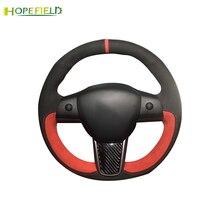 מחורר פאזי עור לעטוף אוטומטי מגן יד תפור מקרה רכב הגה כיסוי עבור טסלה דגם 3 אביזרי פנים