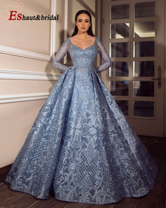 Image 2 - Cömert Dubai akşam elbise kadınlar için 2020 uzun kollu Aline lüks v yaka kristal el yapımı dantel arapça balo örgün parti kıyafeti