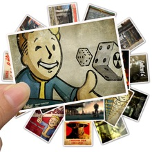 25pcs Pack Game Fallout 4 Stickers Waterproof PVC Luggage Skateboard Car Bicycle Guitar Laptop Motorcycle Cool Sticker Kids Toys 50pcs fallout game sticker for luggage skateboard phone laptop motor bicycle wall guitar waterproof pvc stickers