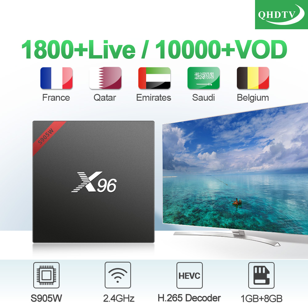 QHDTV 1 Year France Arabic X96W IP TV Box Android 7.1 S905W H.265 Decoder WIFI IPTV Subscription IPTV Netherland IP TV Box