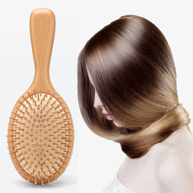 Wooden Paddle Hair Brush, Bamboo Bristles Detangling Hairbrush For Women Men and Kids 3 In 2