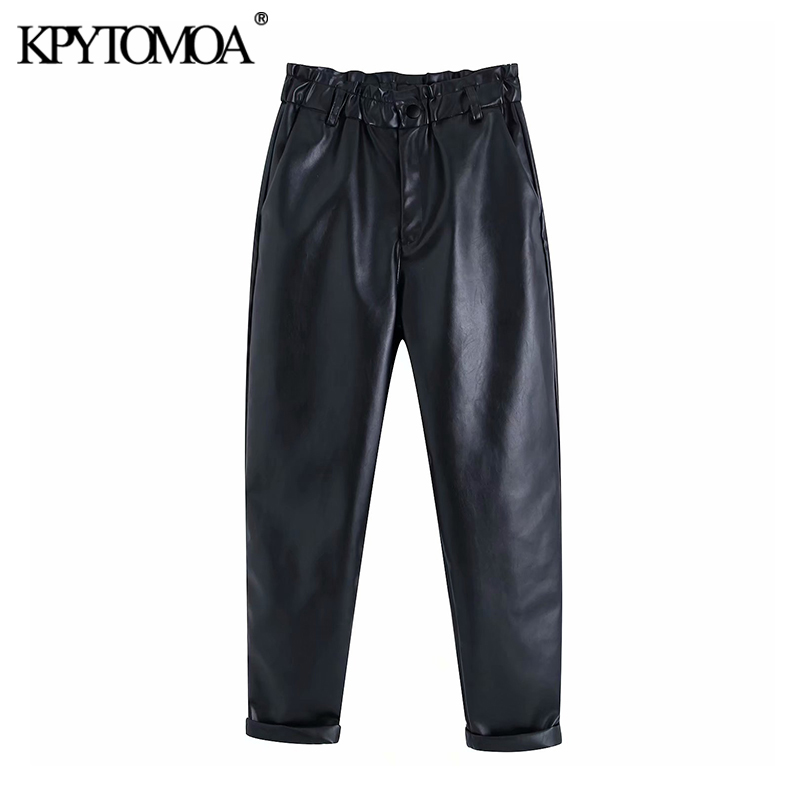 Vintage Stylish Faux Leather High Waisted Harem Pants Women 2020 Fashion Elastic Paperbag Waist Pockets Female PU Ankle Trousers