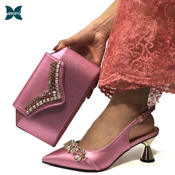 2020 Latest Italian Design African Women Wedding Shoe Decorated with Rhinestone Women Shoe and Bag Set In Pink Color for Wedding