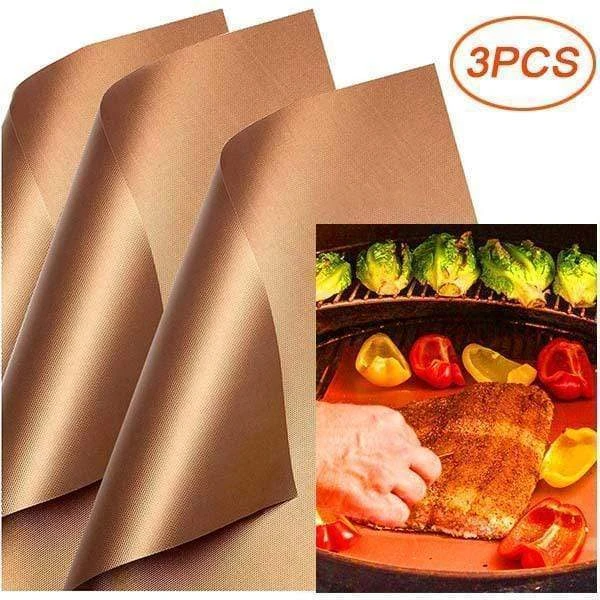 Reusable Non-Stick BBQ Grill Mat Pad Heat-resistant Baking Sheet Copper Grill Mat Outdoor Picnic Cooking Oven Tools For Party