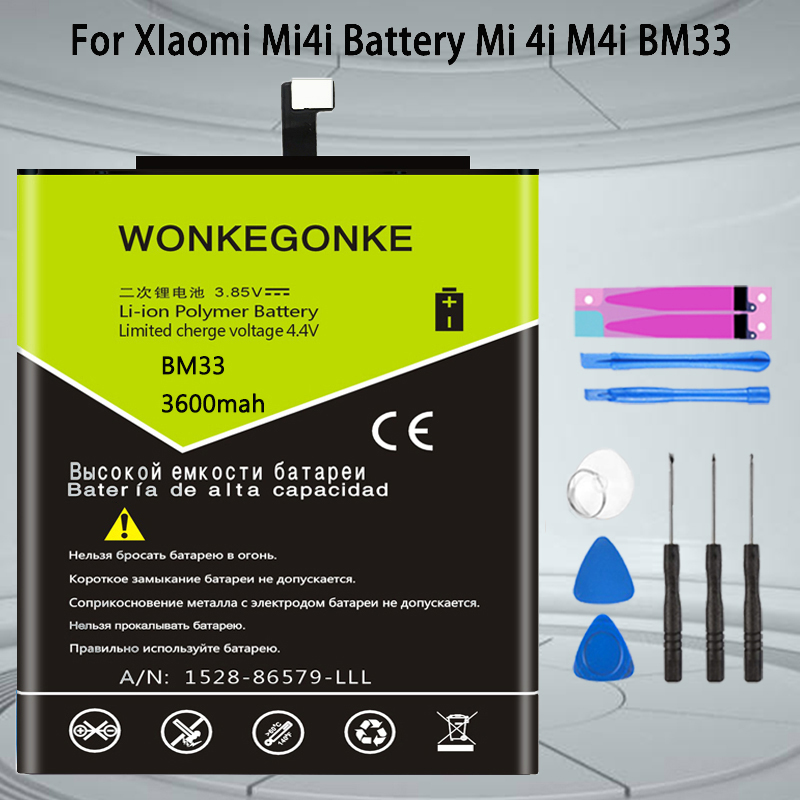 WONKEGONKE BM33 <font><b>battery</b></font> For XIaomi Mi4i <font><b>Battery</b></font> <font><b>Mi</b></font> <font><b>4i</b></font> M4i cell phone Batterie Bateria image