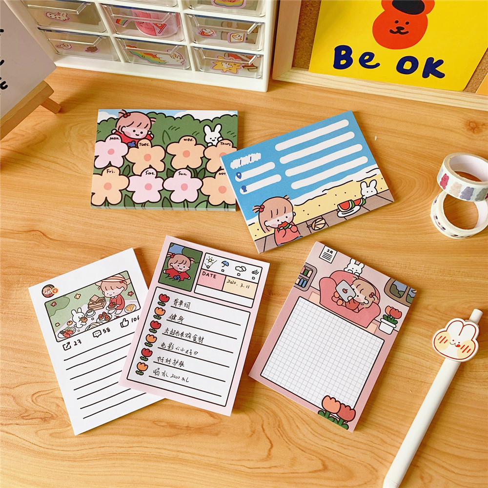 SIXONE 50 Sheets Ins Cute Cartoon Girl Memo Pad Kawaii Grid Creative Planner Stickers Student Diary To Do List School Stationery