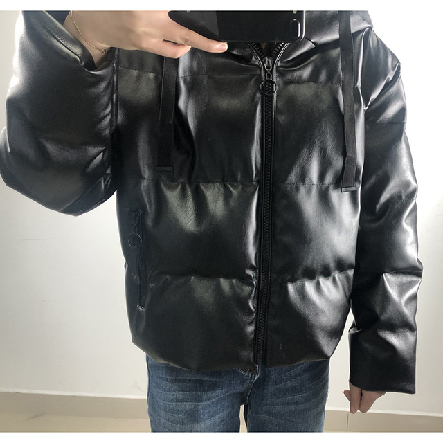 Fandy Lokar Zipper Short Parkas Women Fashion Pockets PU Leather Coats Women Elegant Winter Hooded Cotton Jackets Female Ladies 5