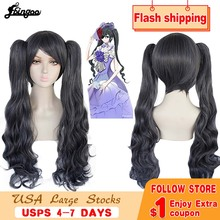 Ebingoo preto mordomo kuroshitsuji ciel phantomhive peruca longo duplo rabo de cavalo cinza sintético coplay peruca para feminino