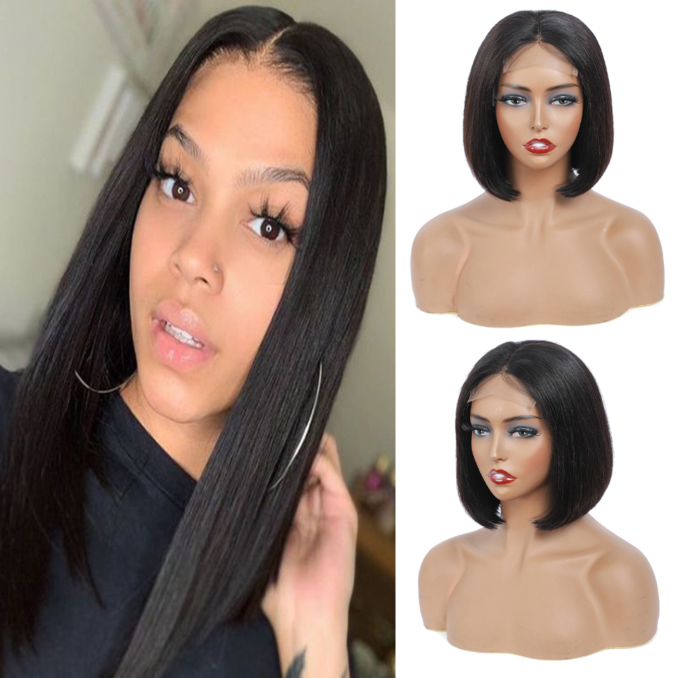 Deep Wave Bob Lace 4x4 Closure Wig 8 Inch-14 Inch 180% Density   with Baby Hair Natural Color Short Lace Front Wigs 1