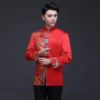 Traditional Chinese Clothing Tops Dragon Men 's Dress Groom Men Cheongsam Tang Suit Jacket Vintage Jacket Red tanie i dobre opinie Rayon Poliester Ryps 2082 Tang Suit 01