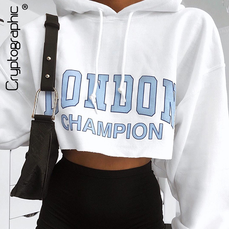 Cryptographic Fashion Print Letter Hooded Women's Pullovers Sweatshirts Casual Solid Long Sleeve Crop Tops Female Clothing 2019