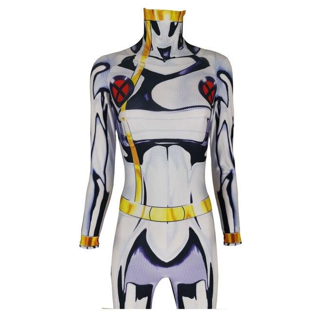 X MEN Storm Cosplay Costume Print Cheap Xmen Ororo Munroe Superhero Halloween Zentai Catsuit for Adults