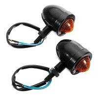 2 stücke LED Blinker Lampe 12V 18W Motorrad Schwarz Chrom Blinkende Lichter Für Cafe Racer Sportster Auto lauf Signal licht