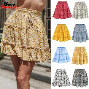 Image 4 - women skirts 2019 floral printed A line mini skirts Cotton Ruffles pleated girls skirts beach holidays casual skirts S XXL