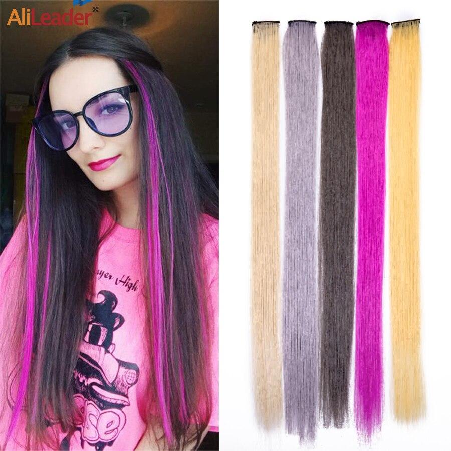 Alileader gökkuşağı düz bir klip tek parça sentetik Hairpieces kadın görünmez yanlış saç uzatma Ombre pembe kırmızı