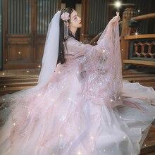 Женское ханьфу китайское платье традиционное сказочное платье принцессы Розовые платья династии Тан древний костюм народная танцевальная одежда SL1241