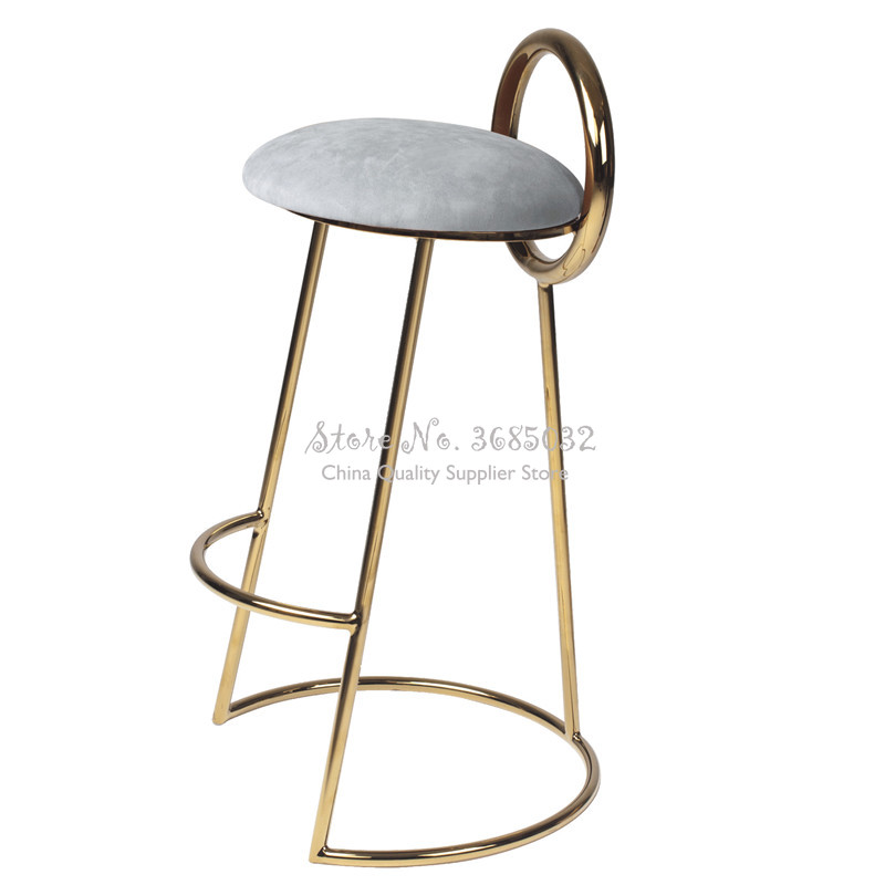 Nordic Iron Pink Bar Stool Golden Coffee Chair Modern with Round Back Flannel Comfort Cushion Sitting Height 75/65cm Multicolor