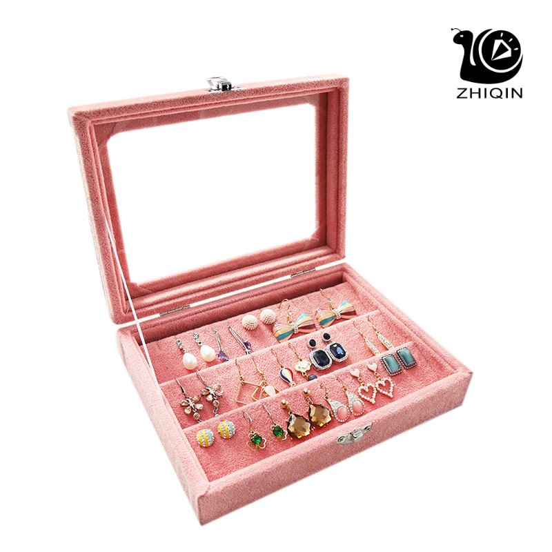 Pink Velvet Jewelry Box Earrings Storage BOX Organizer Box Holder Case Jewelery Storage Box Earring Display BOX