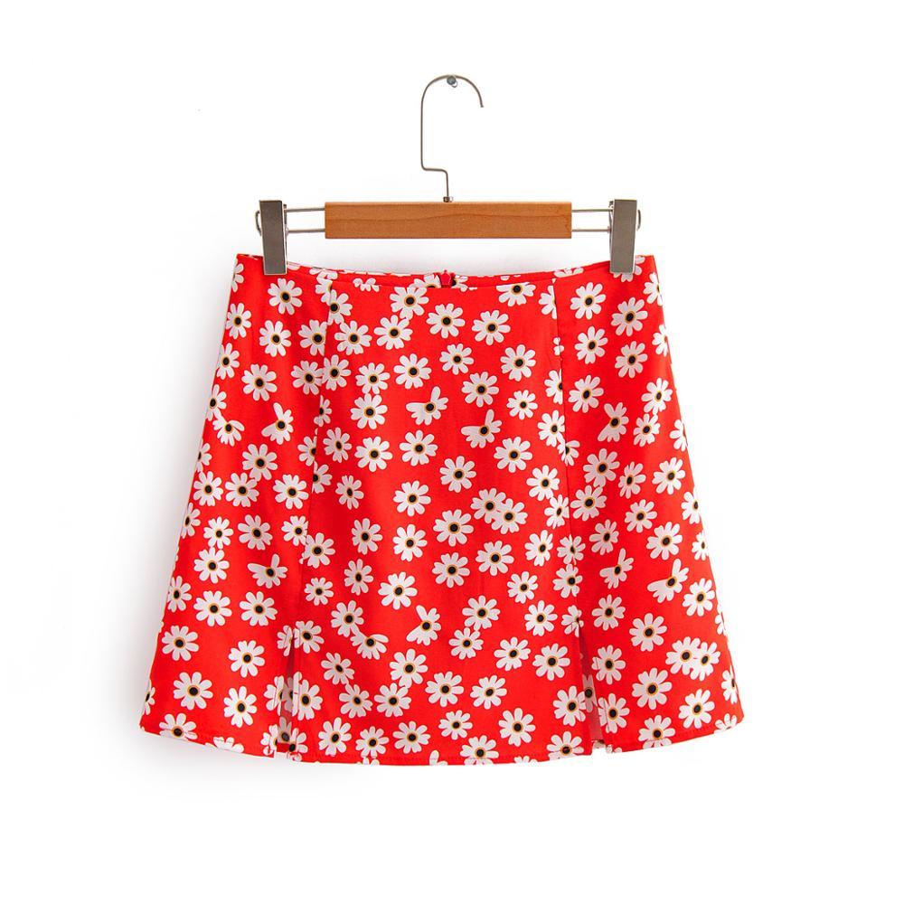 2020 Women Holiday Wind Sunflower Print Red A Line Skirt Faldas Mujer Ladies Back Zipper Vestidos Chic Split Mini Skirts QUN590
