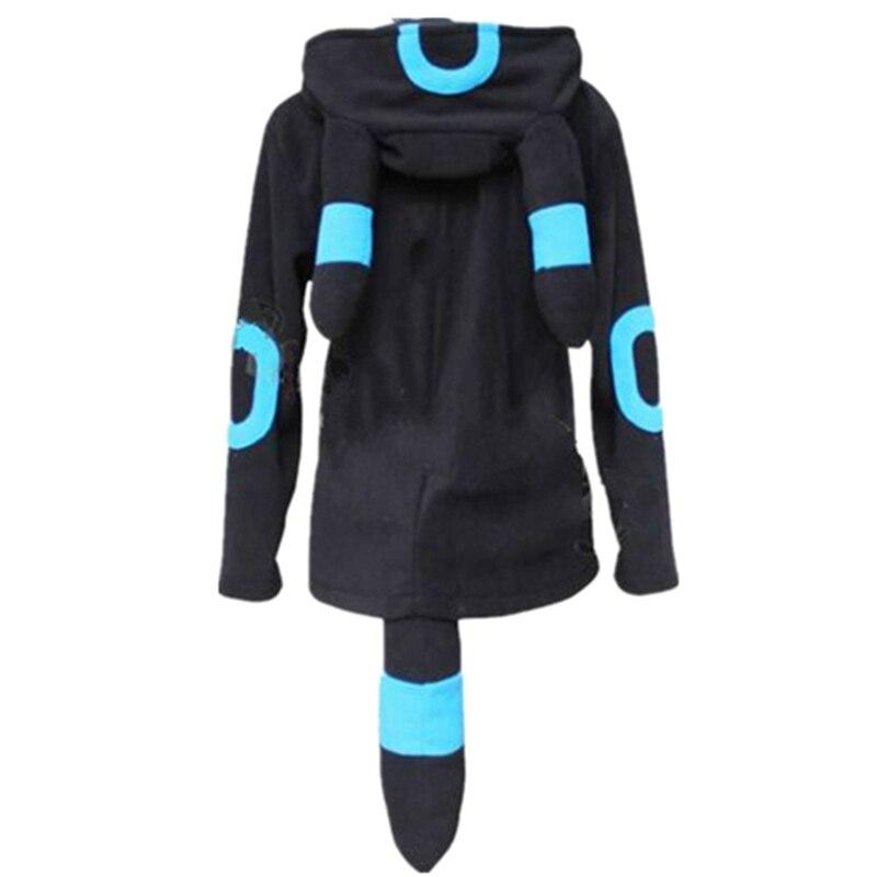 Женские изящные смесовой ткани с длинным рукавом с рисунком из аниме мультфильм толстовки умбреон пуловер Топы Куртка пальто толстовки для...