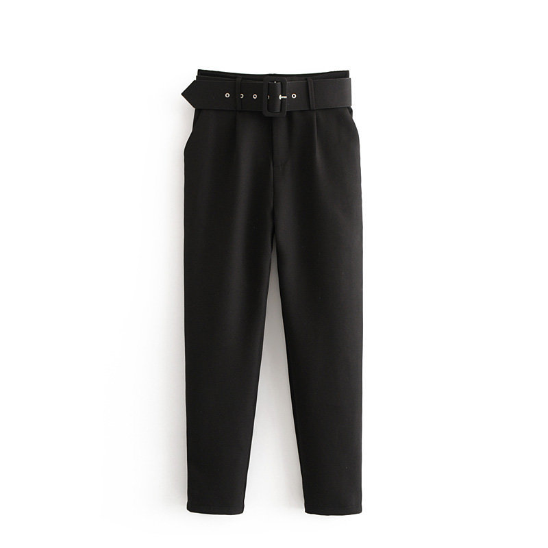 H178d978a61b44b1ea51deb7c593dad575 - Office Lady Black Suit Pants With Belt Women High Waist Solid Long Trousers Fashion Pockets Pantalones FICUSRONG Pencil