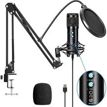 Hot TTKK BM858 USB Condenser Microphone Kit for Computer, Professional Streaming Podcast, Live Streaming, Gaming,Sing,Studio
