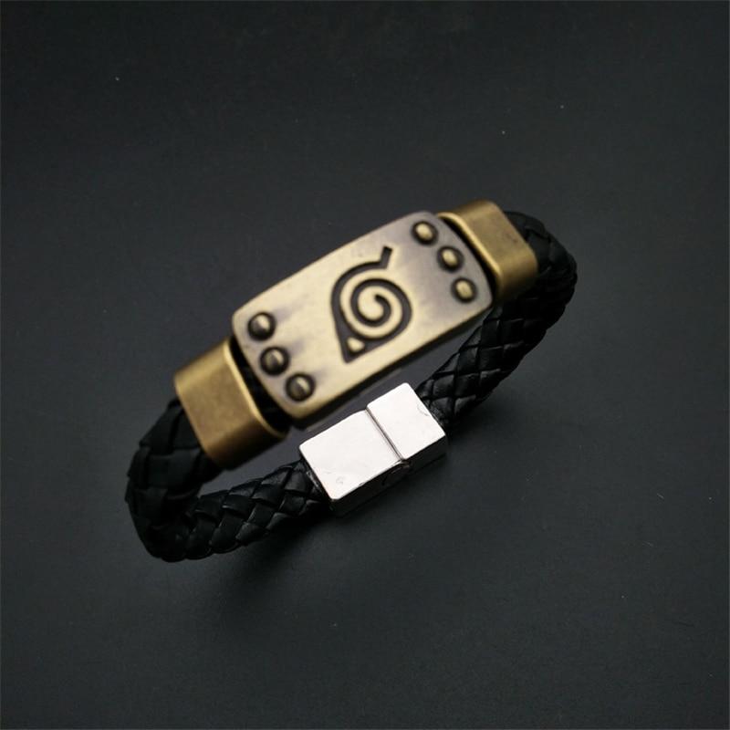Anime Naruto Akatsuki Uchiha Itachi Cosplay Accessories Kakashi Konoha Symbol Bracelet PU Metal Wristband Hand Strap Jewelry New