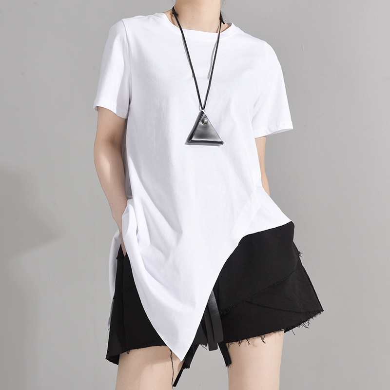 [EAM] Women White Irregular Split Joint Brief T-shirt New Round Neck Short Sleeve  Fashion Tide  Spring Summer 2020 1W63701 2
