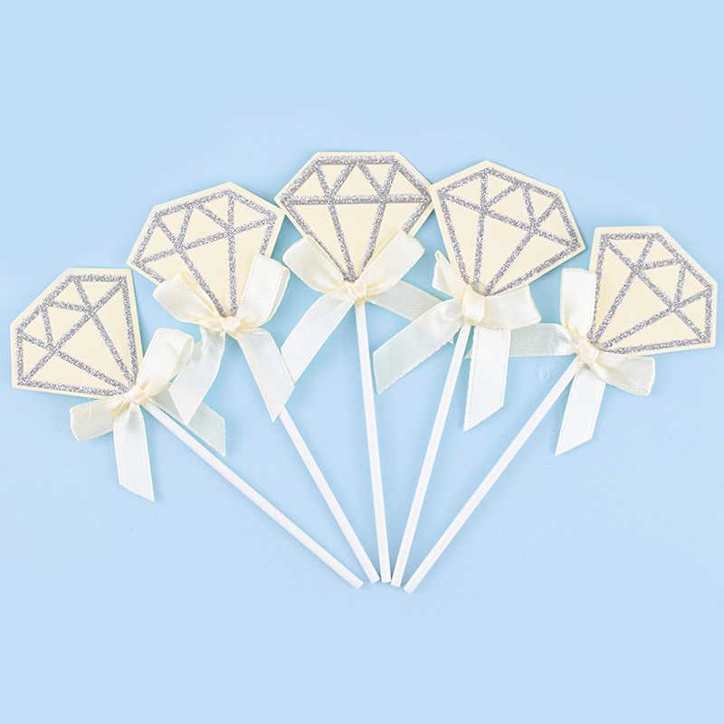Cakelove 5 adet güzel elmas Cupcake Toppers pembe mavi mutlu doğum günü pastası ekleme kartları kendi başına yap kağıdı saten ilmek düğün dekorasyon