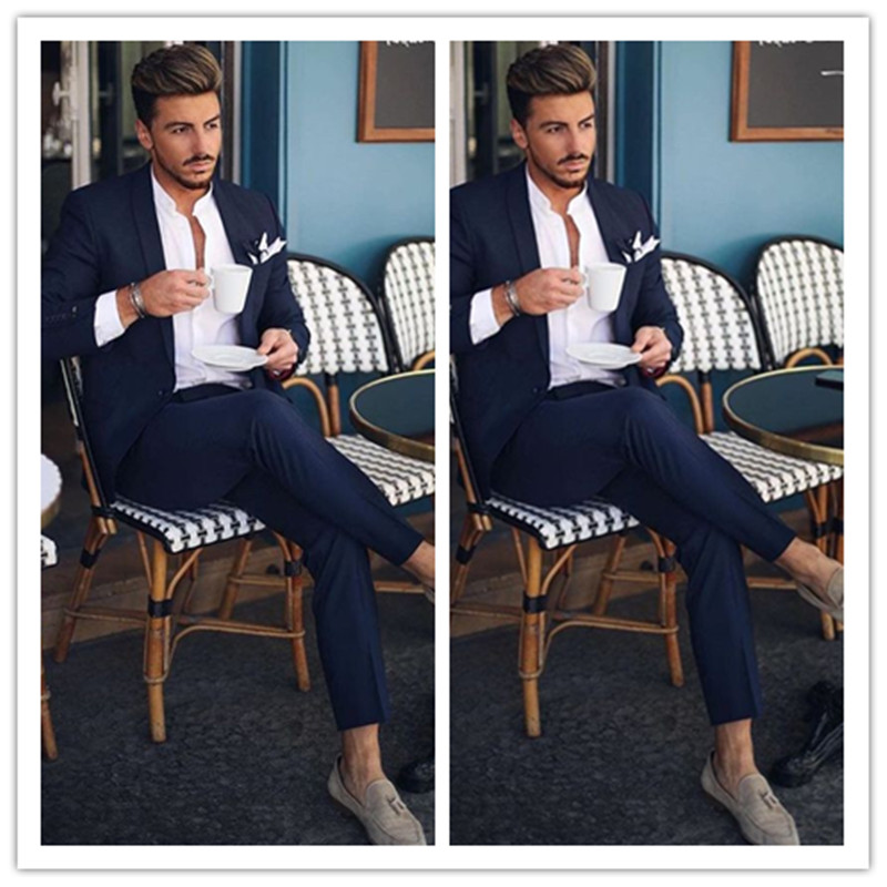 New Fashion Navy Blue 2 Pieces Men Suits For Wedding Groom Tuxedos Classic Outfit Man Blazers Groomsmen Wear (jacket+pant)