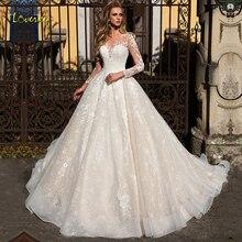 Loverxu סקופ כדור שמלת חתונת שמלות 2019 מפתה אפליקציות ארוך שרוול כפתור הכלה שמלת משפט רכבת כלה שמלה בתוספת גודל