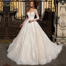 Loverxu Scoop Ball Gown Wedding Dresses 2019 Alluring Appliques Long Sleeve Button Bride Dress Court Train Bridal Gown Plus Size