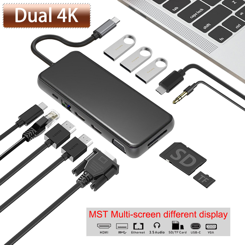 USB HUB Multi USB 3.0 HDMI 4K VGA RJ45 PD Adapter To Splitter 3 Port  USB 3.1 Type C For MacBook USB Hub 3.5mm Audio MST