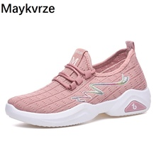 2020 New women breathable sneakers outdoor flying woven casual wild Non-slip sports fashion mesh lace-up running shoes new flying woven mesh breathable women s shoes casual wild lace mesh women s sneakers shoes fashion lightweight casual shoes