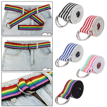 Casual Canvas Belts Rainbow Colors Stripe D Ring Double Buckle Long Waist Strap Student Teenager Men Women Jeans Waistband fashion women belts luxury brand long casual unisex men female 9 colors canvas fabric belt strap d ring buckle black waistband