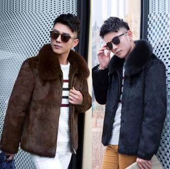 Autumn faux mink fur leather jacket mens black brown winter thicken warm fur leather coat men loose jackets fashion B253