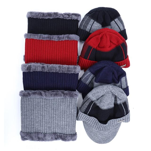 2019 New High Quality Winter Knit Beanie Scarf 2 Pieces Set Thick Lining Plus Velvet Men's Visor Hat Warm Dad Cap Soft Balaclava 2