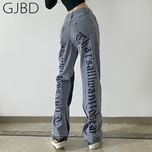 Moda feminina calças de brim 2021 nova y2k tendência impressão streetwear cintura alta calças perna larga versátil casual baggy denim