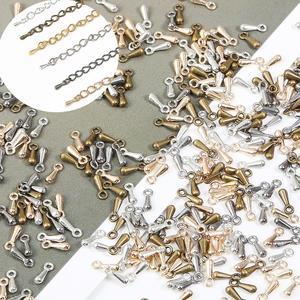 Удлиненные удлинительные цепочки с капельками воды, 100 шт./лот, 2х7 мм, застежка для ожерелья, браслета, аксессуары для изготовления украшений